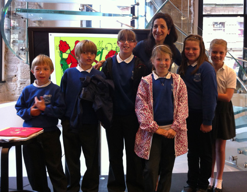 Chryston Primary's P5 class at Colour Closet launch party at The Apple Store in Glasgow.